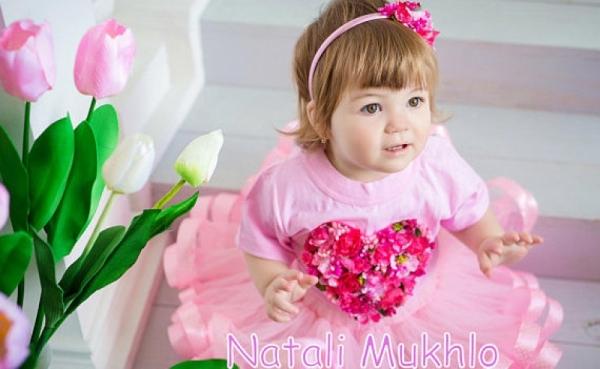 Baby Girl 1st BirthdayTutu Outfit, Birthday Tutu Dress 1st 2nd 3rd Birthday Outfit, Pink Flowers Tutu Heart Set