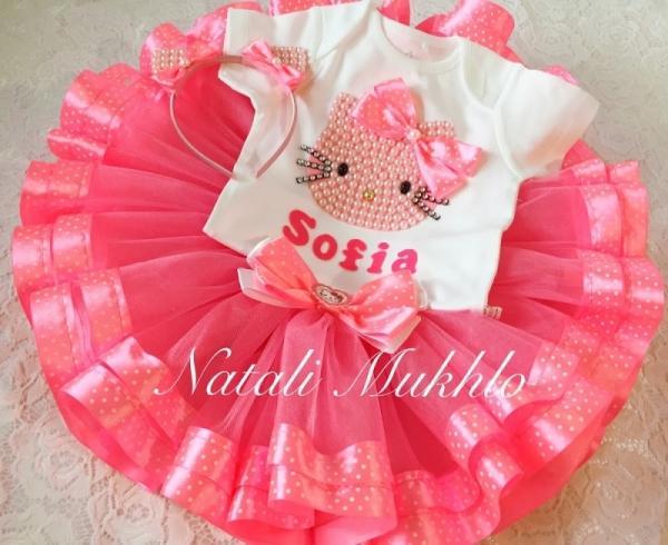 Hello Kitty Birthday Tutu Outfit, Girls Personalized Hello Kitty Birthday Tutu Outfit Hello Kitty, Hello Kity Outfit Pink Tutu Set,1st Birthday